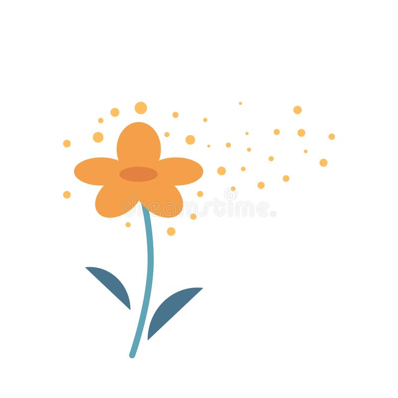 Yellow flower producing pollen in atmosphere isolated on white background. Fine powder coming from stamen of plant and flying in air - cause of allergy vector illustration