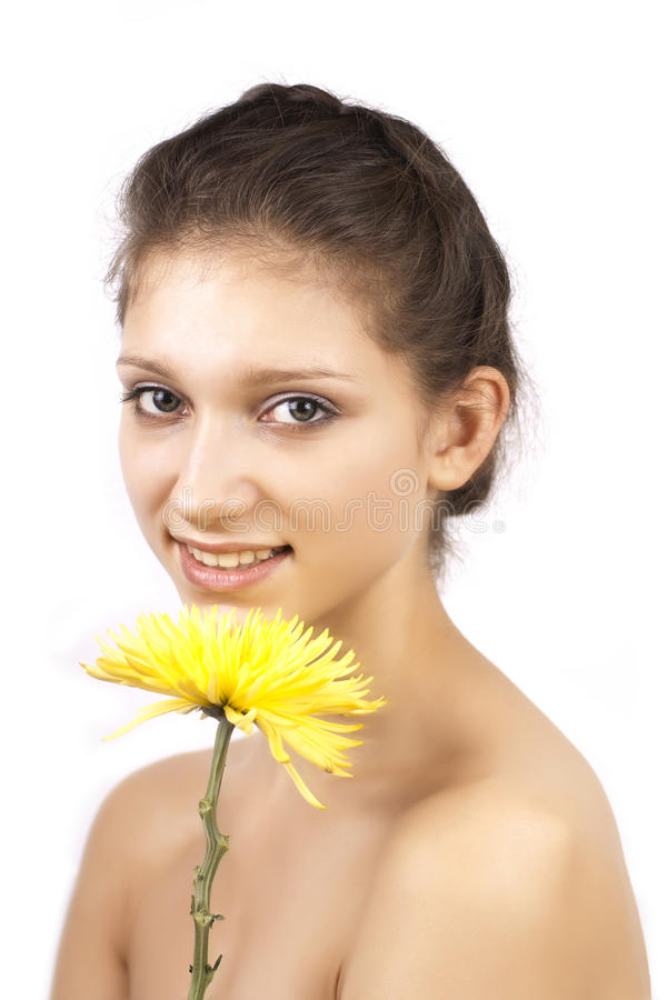 Download Yellow Flower And Smiling Woman Stock Image - Image: 23308461