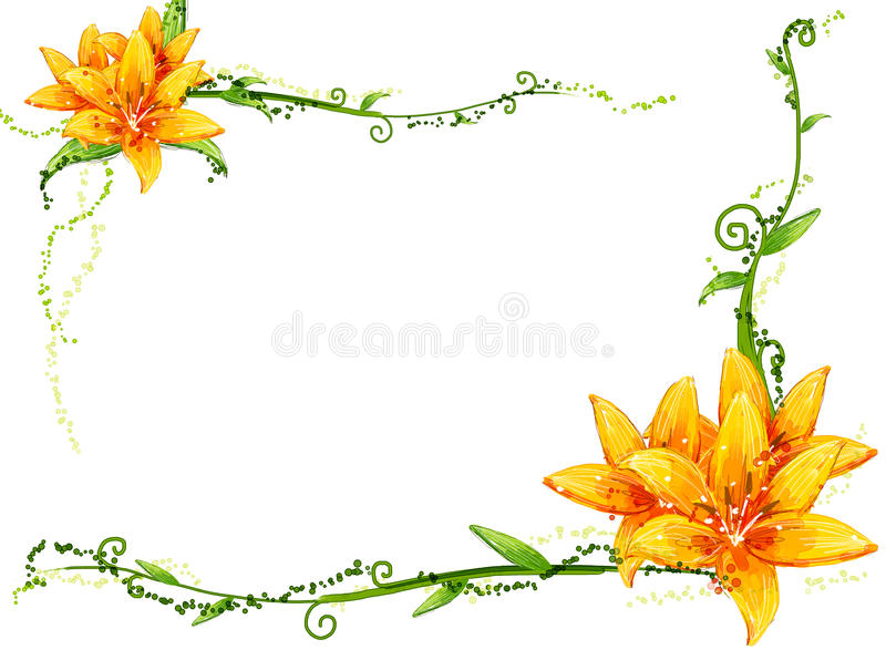 Yellow flower and vines royalty free illustration