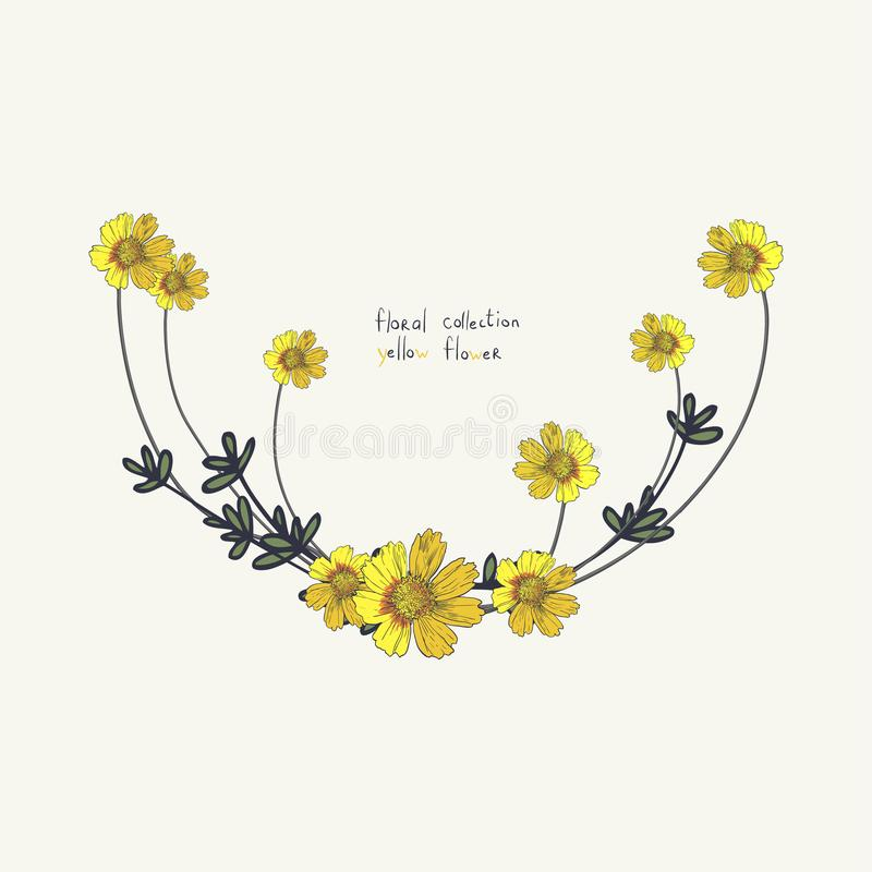 Yellow flower wreath isolated on white. Floral Frame for wedding invitations and birthday cards royalty free stock images