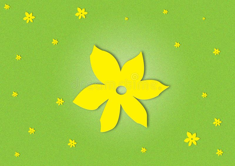 Yellow flowered on green textured background wallpaper stock images