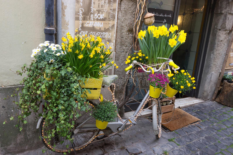 Yellow flowers on a bicycle stock photography