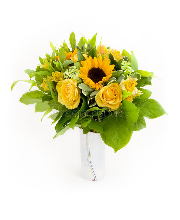 Yellow flowers bouquet royalty free stock photos