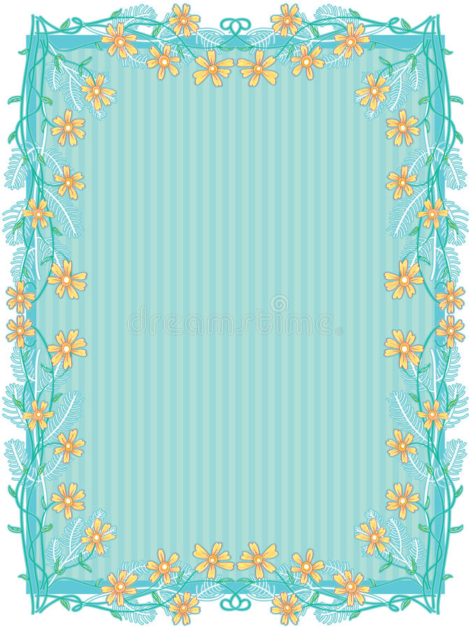 Yellow Flowers Frame Decor_eps royalty free illustration
