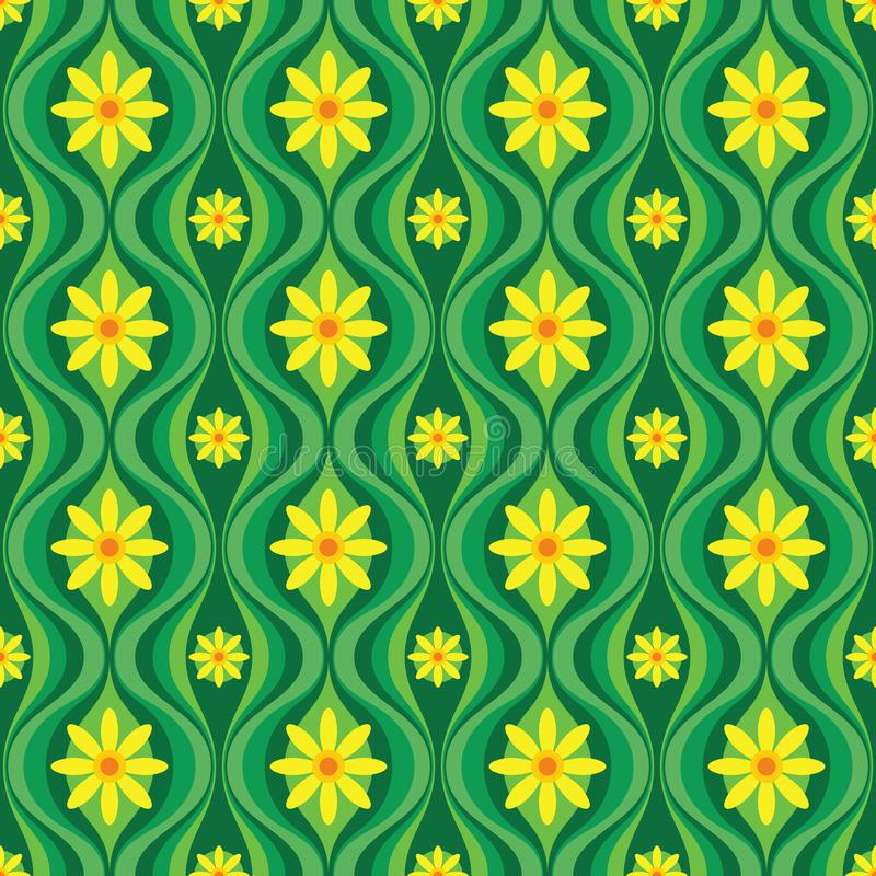 Yellow flowers and green leaves. Mid-century modern art vector background. Abstract geometric seamless pattern. Decorative ornamen vector illustration
