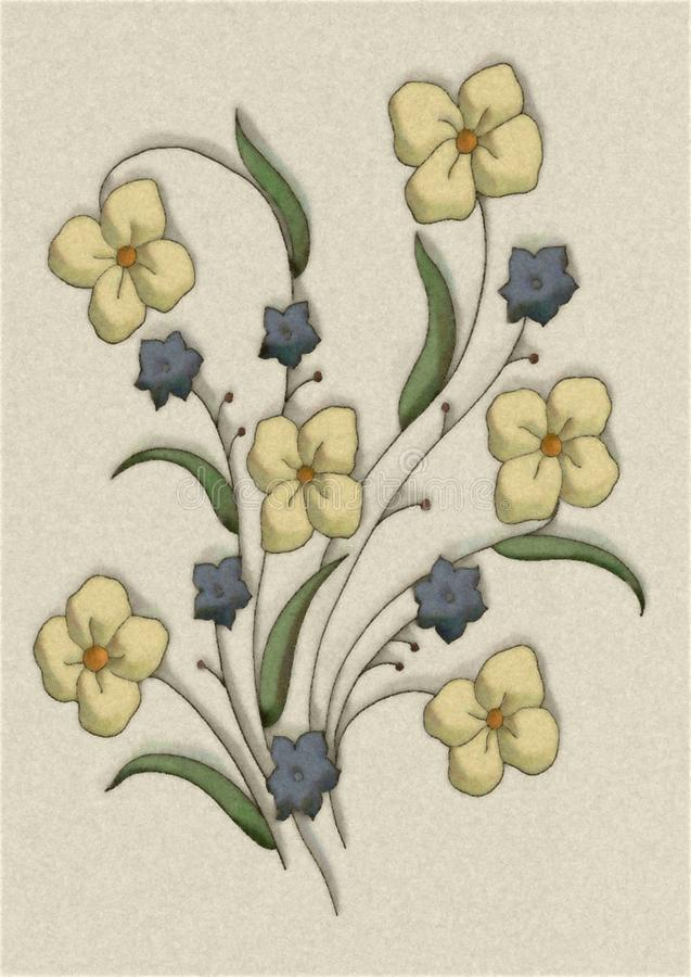 Yellow Flowers Illustration 2 royalty free stock photography