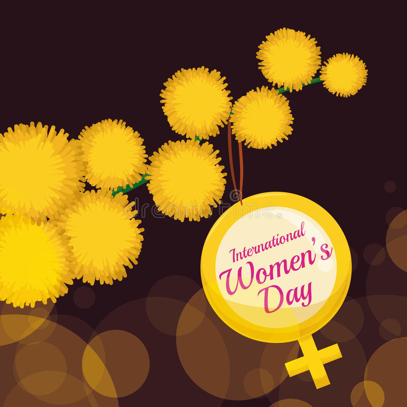 Yellow Flowers of Mimosa with Women's Symbol in a Branch, Vector Illustration stock photography