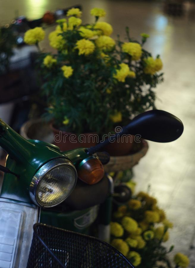 Yellow flowers on a motobike stock images
