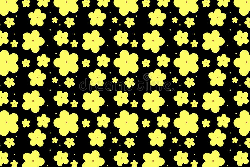 Yellow flowers  seamless pattern on dark background . Illustration design. Floral, group, many, seasons, spring, simple, summer, new, art, garden, creative stock illustration