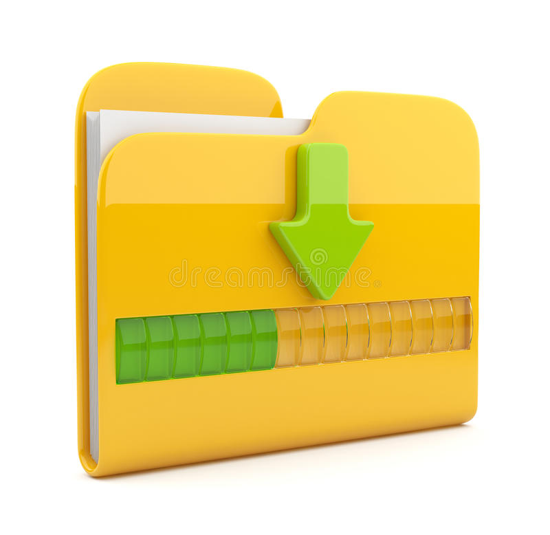 Yellow folder 3D icon. Date downloading stock illustration