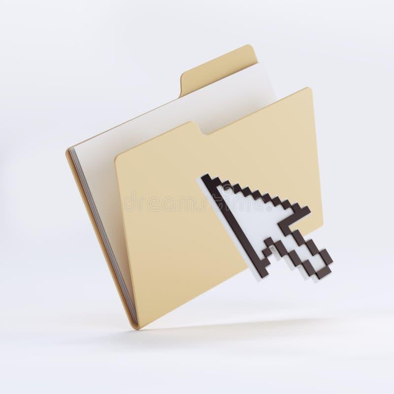 Yellow folder icon and arrow royalty free illustration