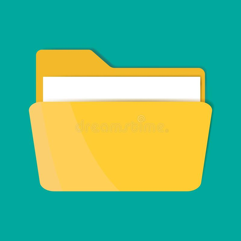 Yellow folder icon with a sheet of paper. Vector folder icon vector illustration