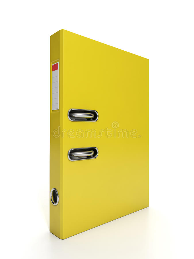 Yellow folder to a close-up. 3d Illustration: Business objects. Yellow folder to a close-up vector illustration