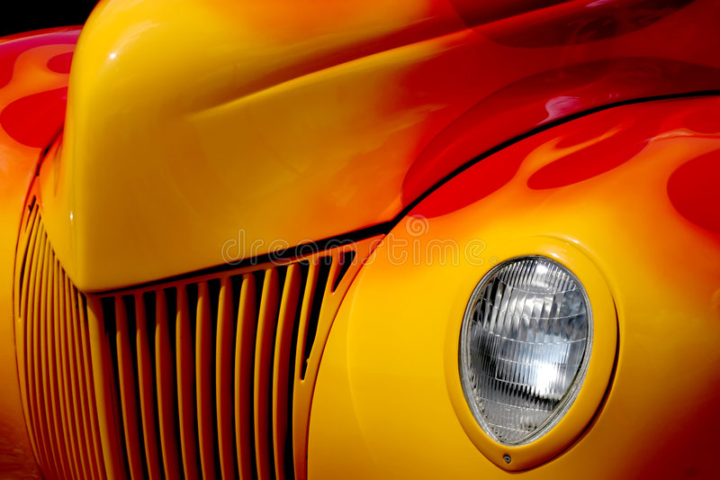 Yellow Ford. Hot rod Ford with flame paint job
