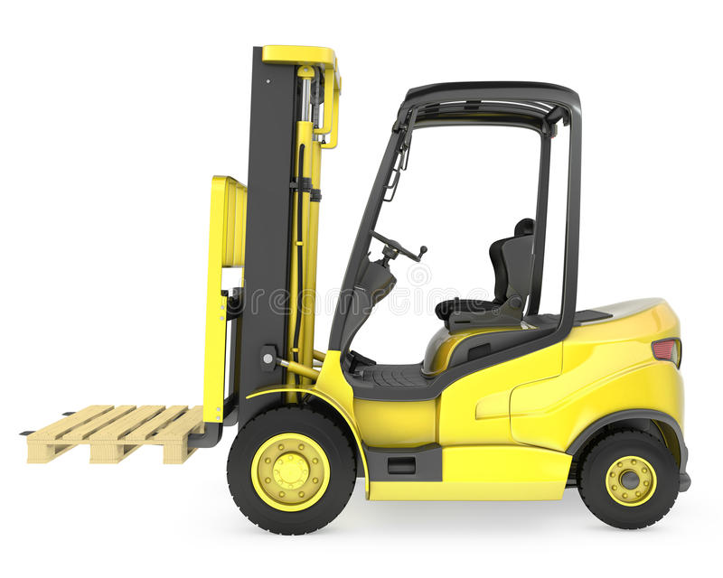 Yellow fork lift truck, with a pallet. On white background vector illustration