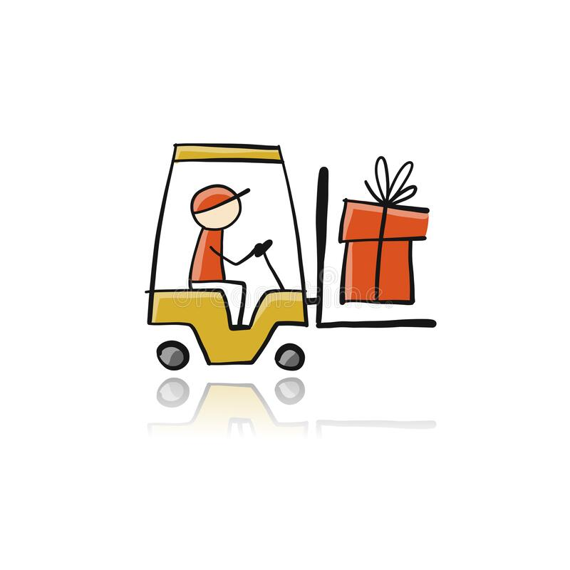 Free Yellow Forklift Icon. Sketch For Your Design Stock Photos - 172334833