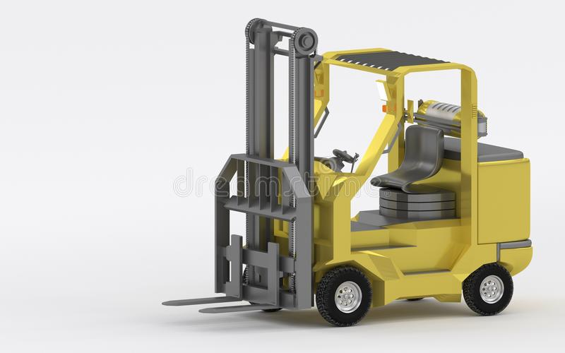 Yellow forklift truck shot on white background 3d render stock images