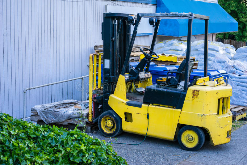 Yellow forklift royalty free stock photography