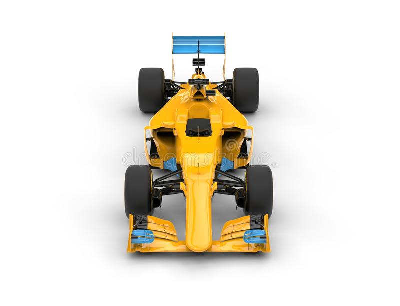 Yellow formula one car with blue tail wing - top front view. Isolated on white background stock images