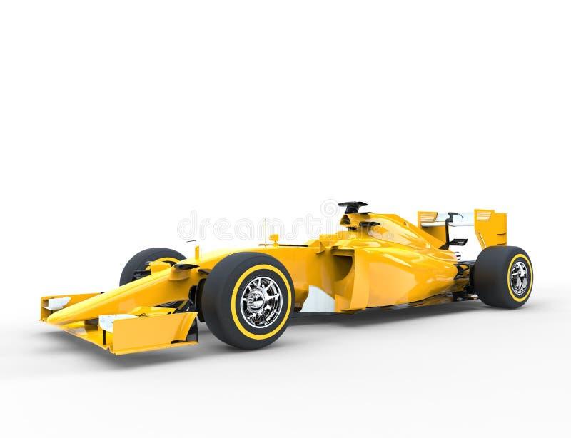 Yellow Formula One Car. Isolated on white background stock photo