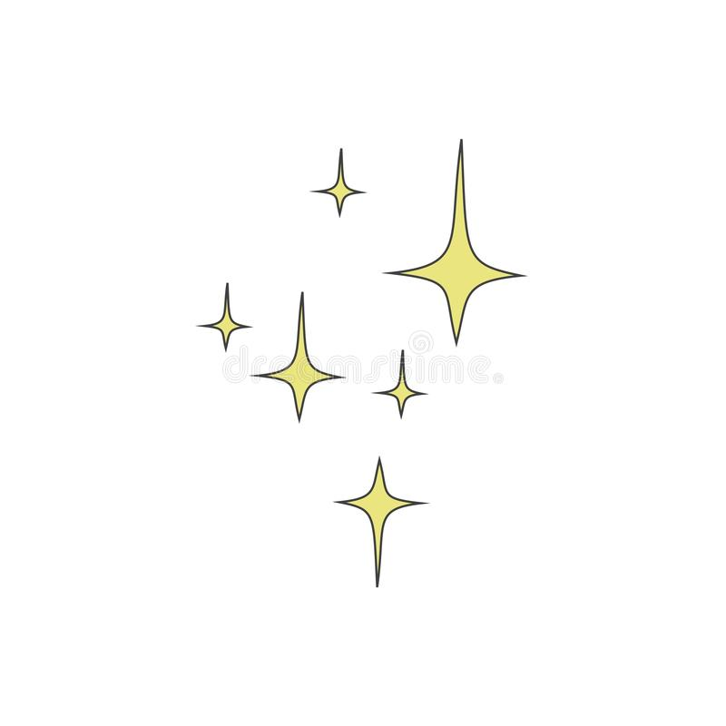 Yellow four-pointed stars on a white background. Vector illustration. Yellow four-pointed stars on a white background. Vector illustration royalty free illustration