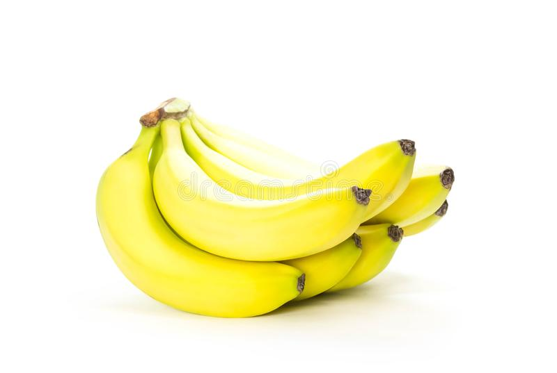 Yellow fresh bananas. Close up. Isolated on white background stock photography