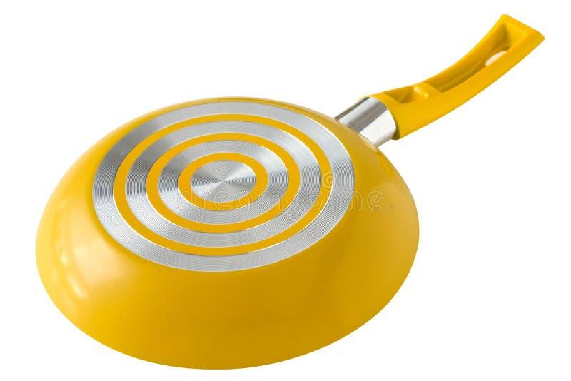 Yellow frying pan royalty free stock photos