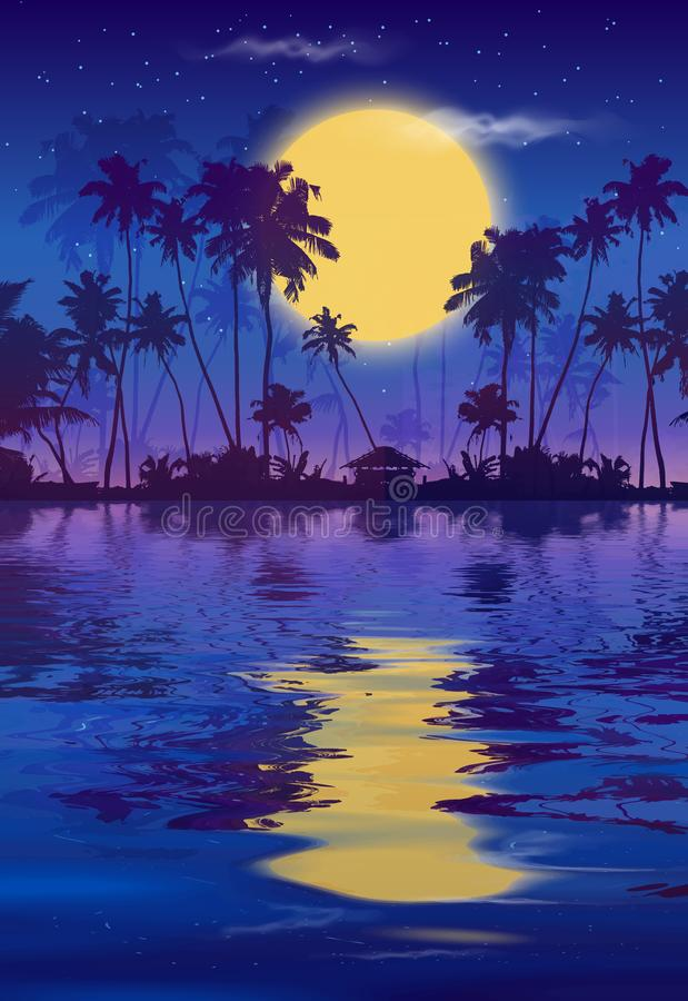 Yellow full moon in dark blue night sky with black palm trees silhouettes and water reflection. Vector fullmoon party royalty free illustration