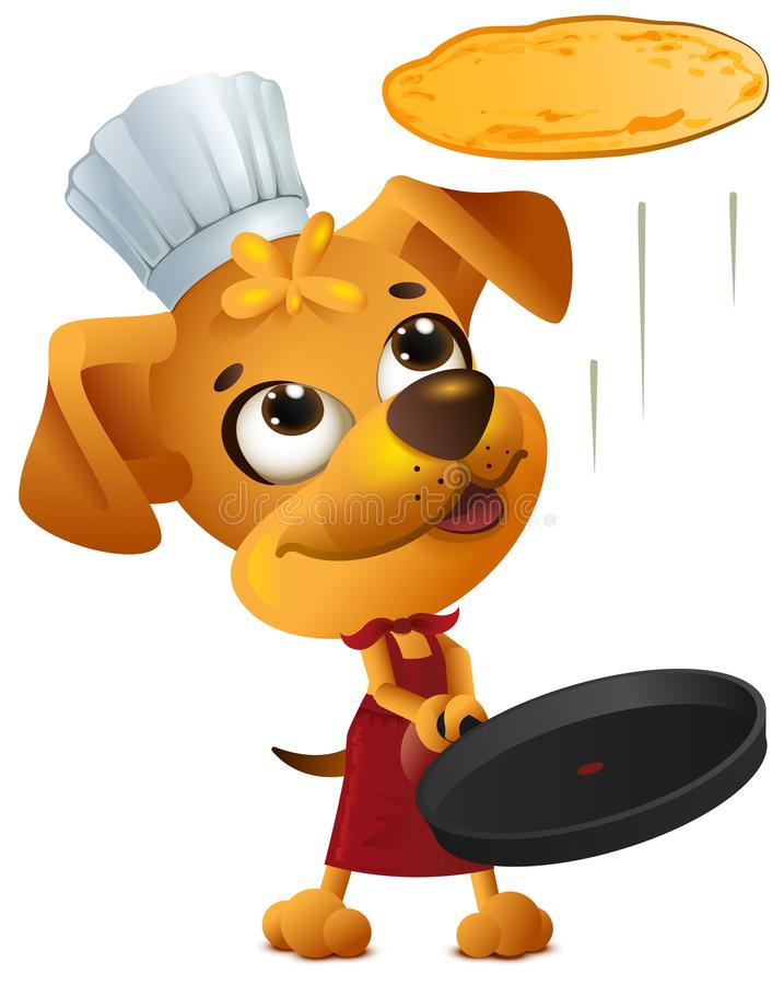 Yellow fun dog chef cook throws pancake royalty free illustration