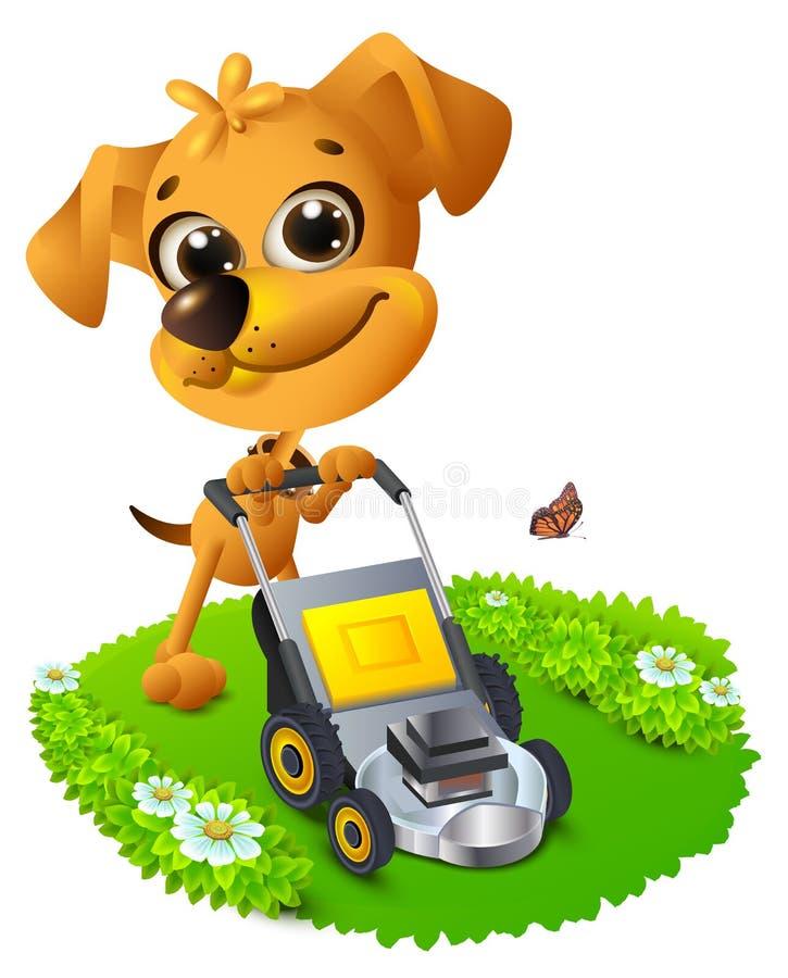 Yellow fun dog mowing lawn stock illustration
