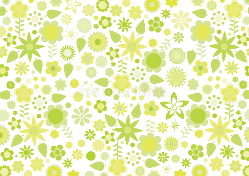 Yellow funky flowers and leaves retro pattern. Vector illustration of lemon yellow funky flowers and leaves retro pattern on white background vector illustration