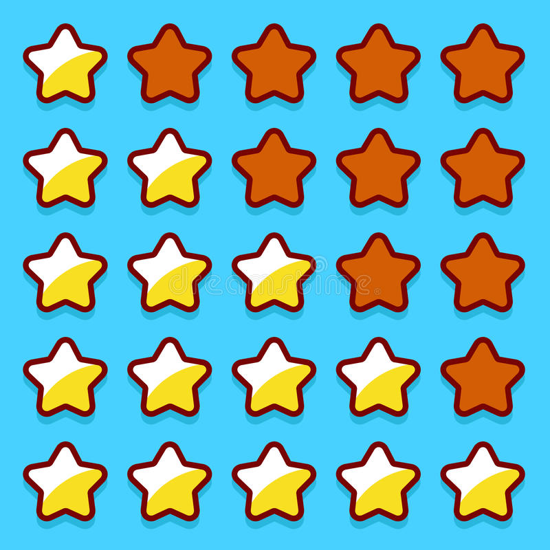 Yellow game rating stars icons buttons. Interface vector illustration