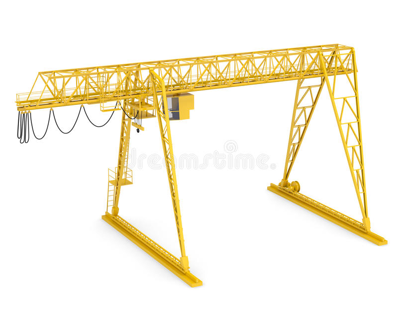 Yellow gantry bridge crane, half-turn. Isolated on white background royalty free stock photo
