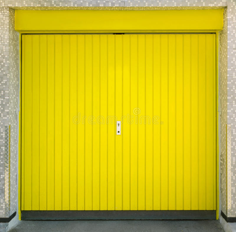 Yellow Garage Door Stock Image. Image Of Boards, Vertical