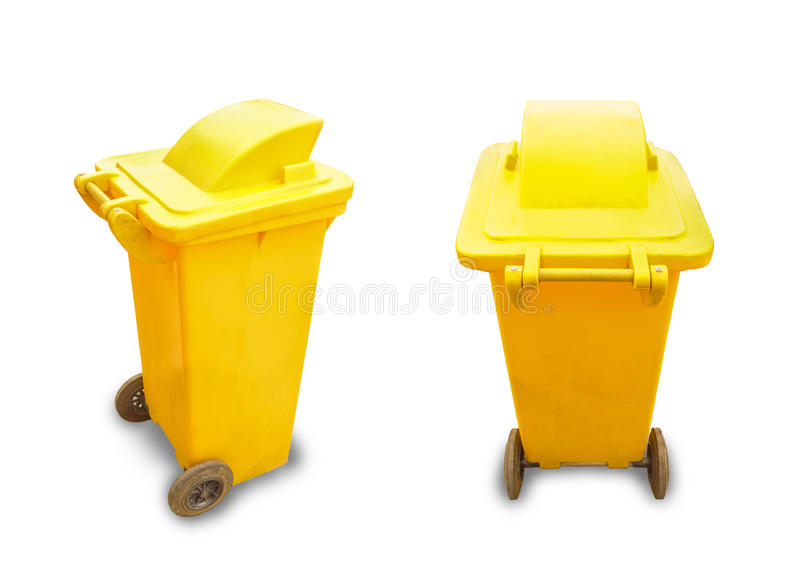 Yellow garbage bin. On white background stock image