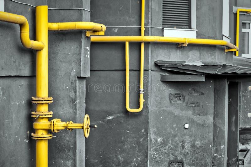 Yellow gas pipe royalty free stock photos