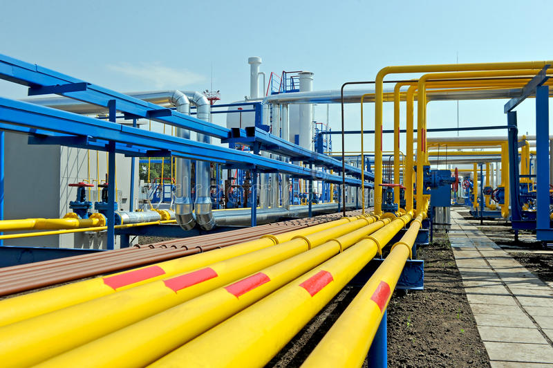 Yellow gas pipes stock images