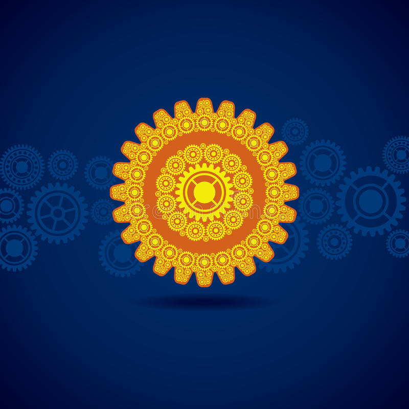 Download Yellow Gear On Blue Background Royalty Free Stock Images - Image: 34707019