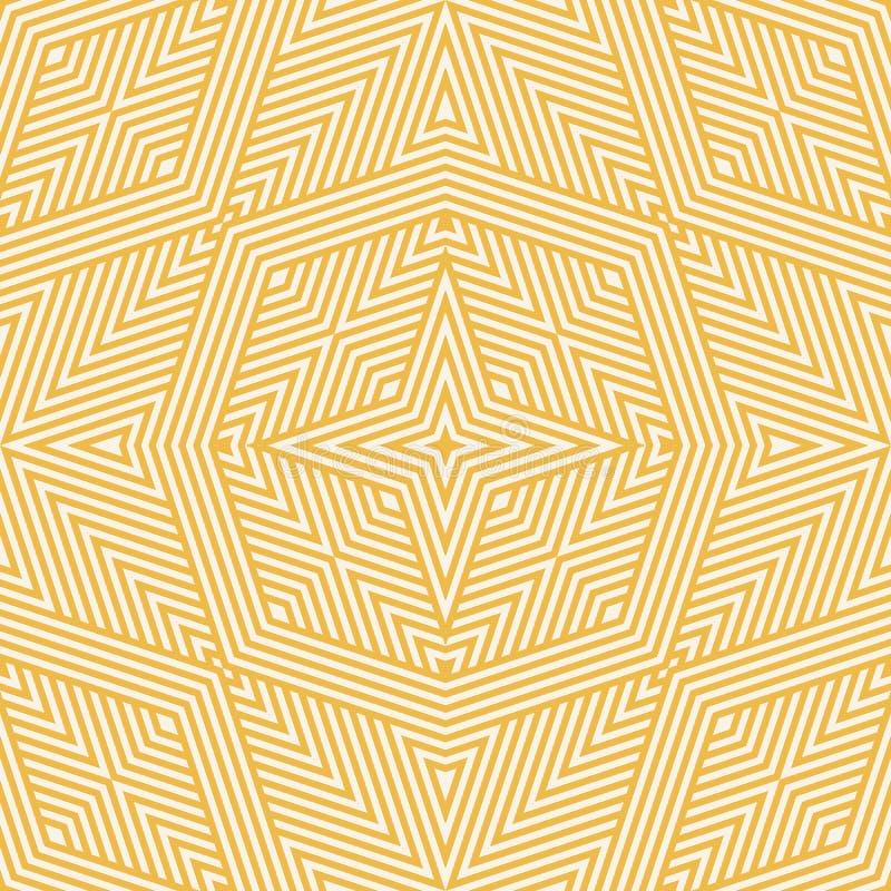 Yellow geometric lines seamless pattern. Modern stylish vector linear background stock illustration