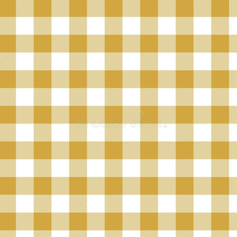 Yellow Gingham pattern. Texture from squares for plaid, tablecloths, clothes, shirts, dresses, paper, bedding, blankets, quilts an stock illustration