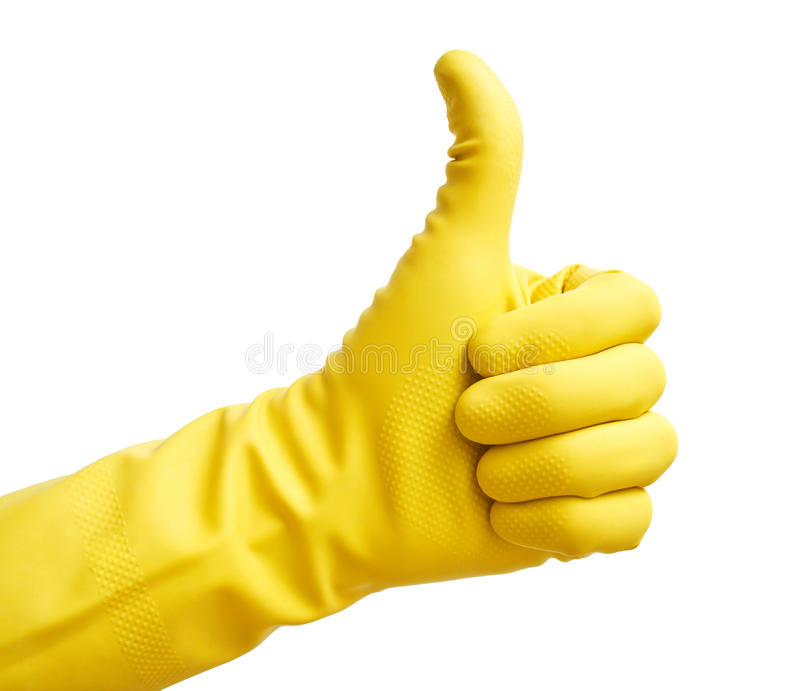Yellow glove royalty free stock images