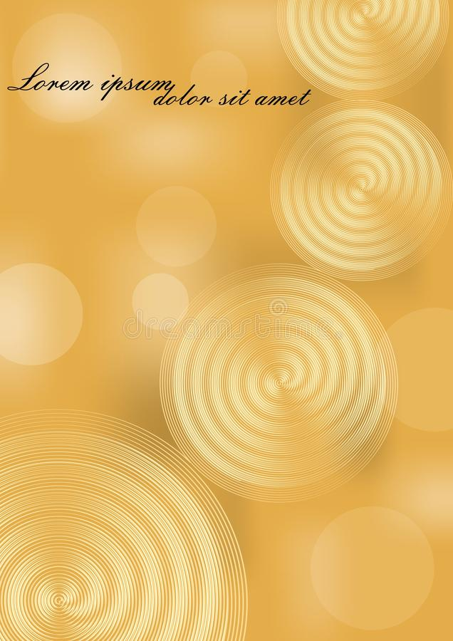Yellow and gold abstract background with spiral elements and bokeh blurry lights. Background for luxury invitation royalty free illustration