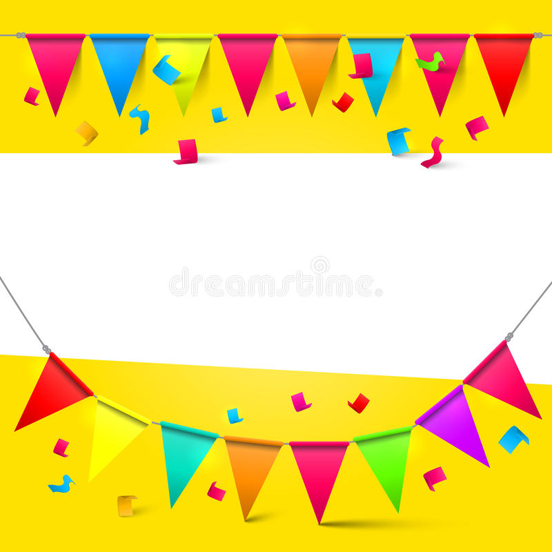 Yellow - Gold Background with Flags vector illustration