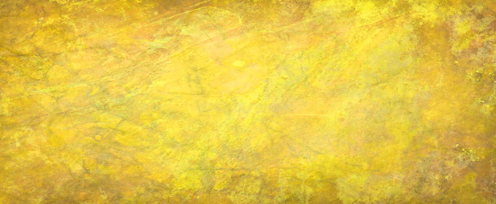 Yellow gold background texture, abstract rough surface paper illustration with old vintage grunge texture stock image