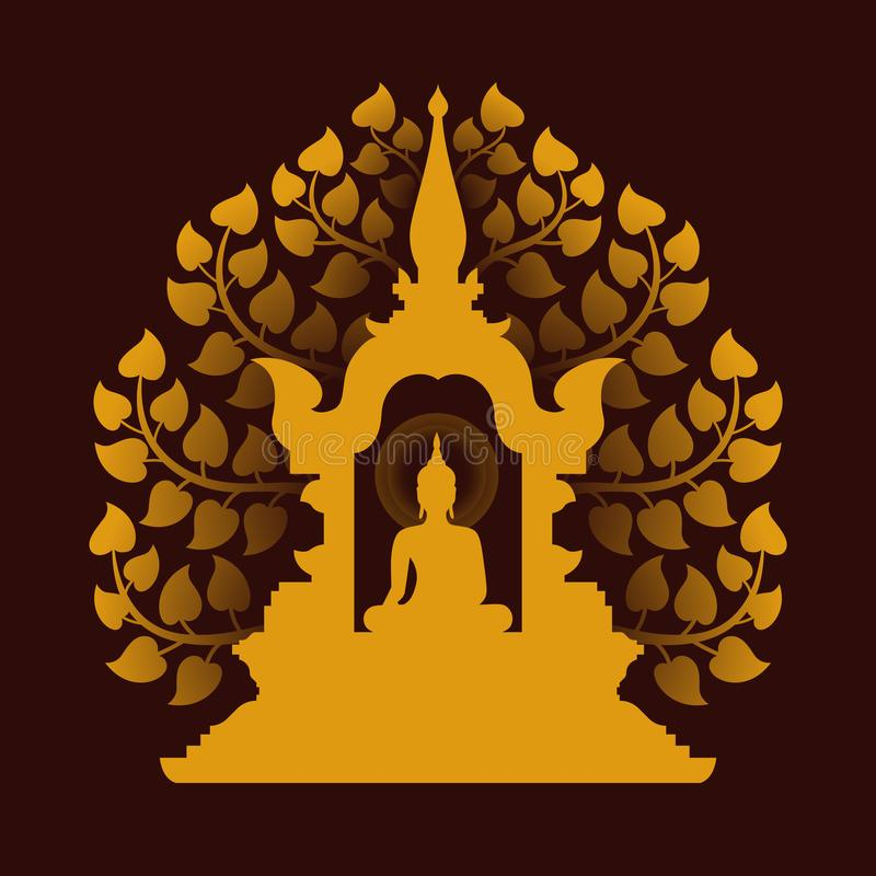 Yellow gold buddha Meditate in the dome and Bodhi tree background vector design stock illustration