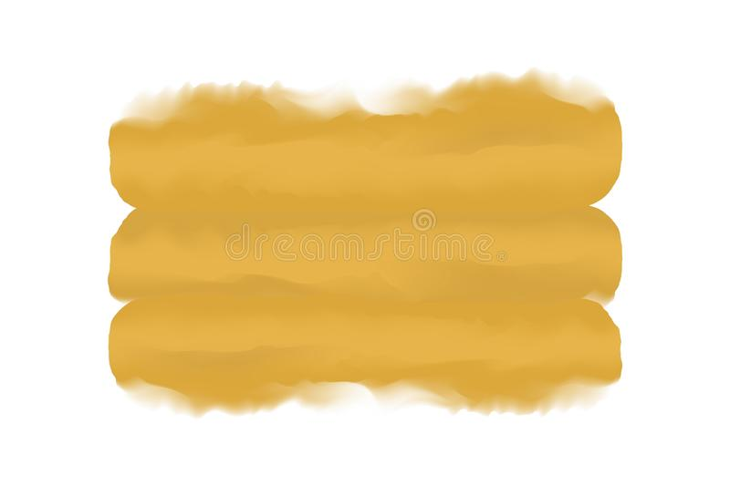 Yellow gold digital paint brush stroke in concept hand drawn style water color texture white background, art water color painting vector illustration