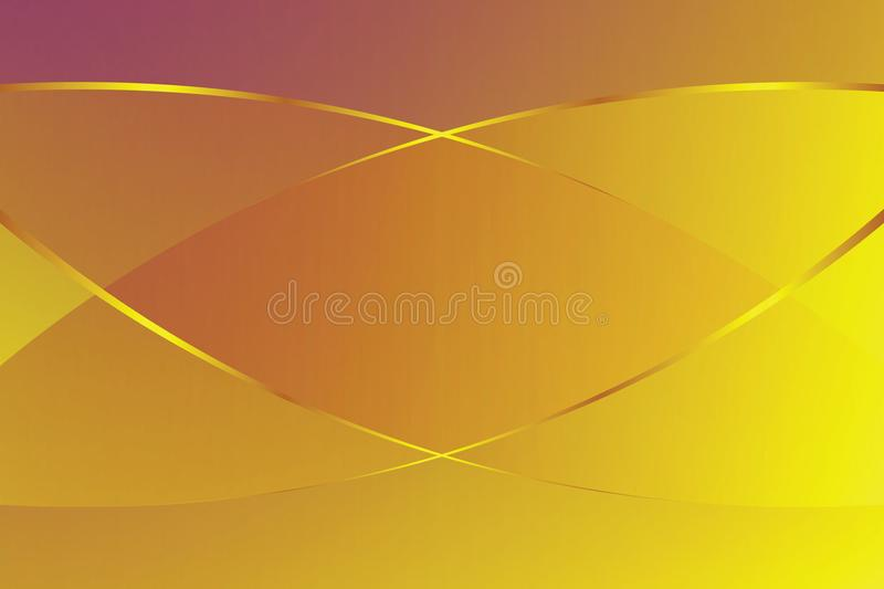 Yellow gold gradient color soft light and golden line graphic for cosmetics banner advertising luxury modern background royalty free illustration