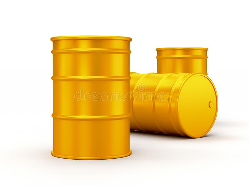 Yellow gold oil barrels isolated on white background. realistic 3d render royalty free illustration