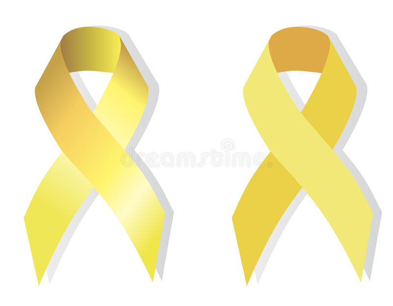 Yellow (gold) ribbon symbolic. Yellow (gold) ribbon symbolizing the problems of suicide, bone tumor, attention deficit hyperactivity disorder, childhood cancer stock illustration