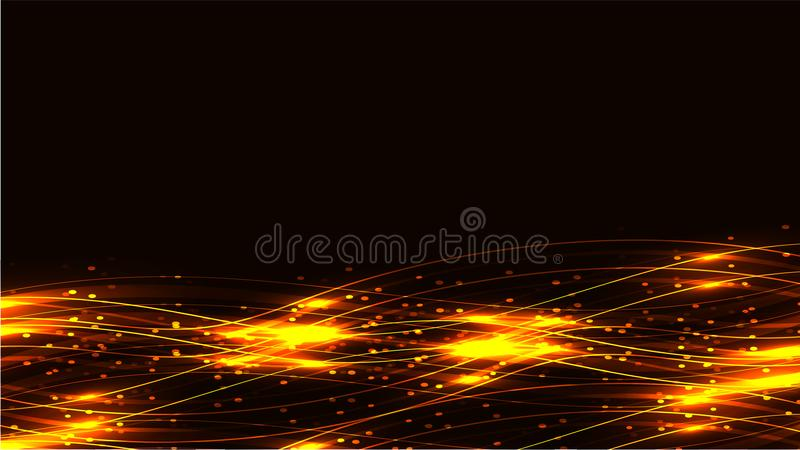 Yellow gold transparent abstract shining magical cosmic magical energy lines, rays with glare and dots and light shines on a dark royalty free illustration